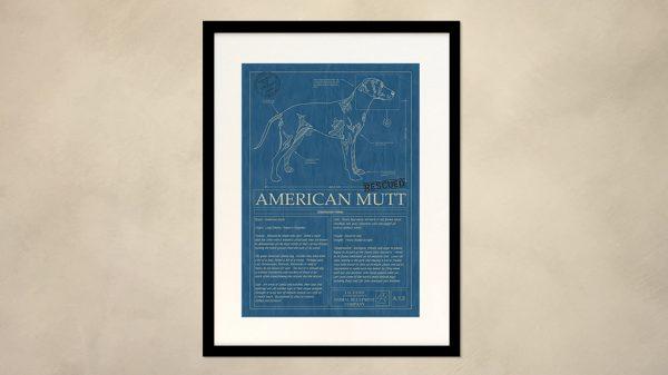 American Mutt Dog Wall Blueprint