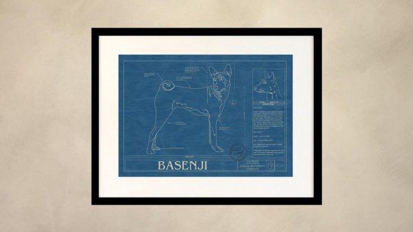Basenji Dog Wall Blueprint