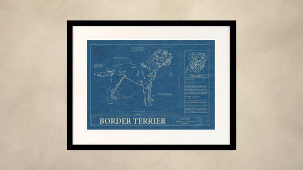 Border Terrier Dog Wall Blueprint
