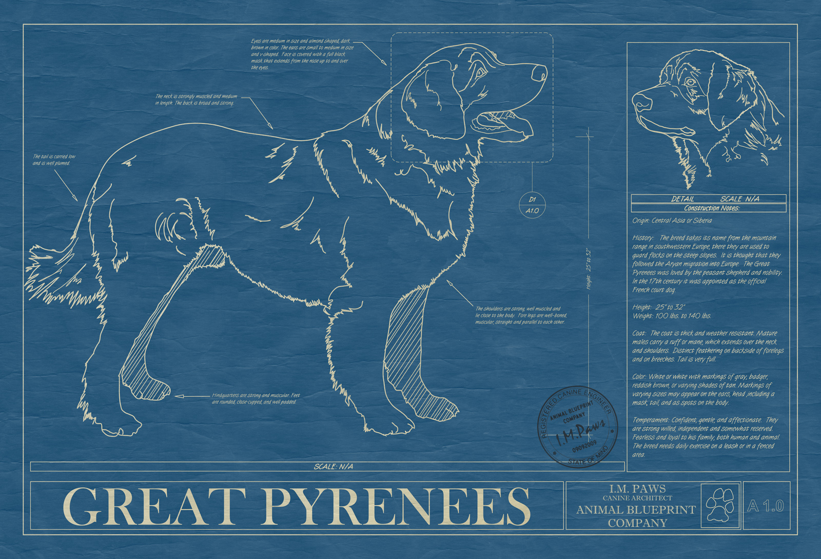 Great pyrenees animal blueprint company great pyrenees dog blueprint malvernweather Gallery
