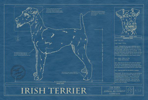 Irish Terrier Dog Blueprint