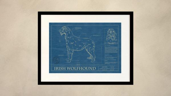 Irish Wolfhound Dog Wall Blueprint