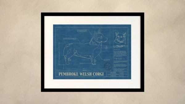 Pembroke Welsh Corgi Dog Wall Blueprint