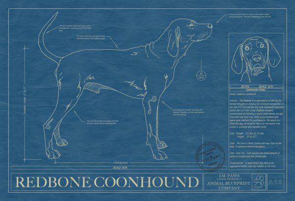 Redbone Coonhound Dog Blueprint