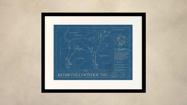 Redbone Coonhound Dog Wall Blueprint