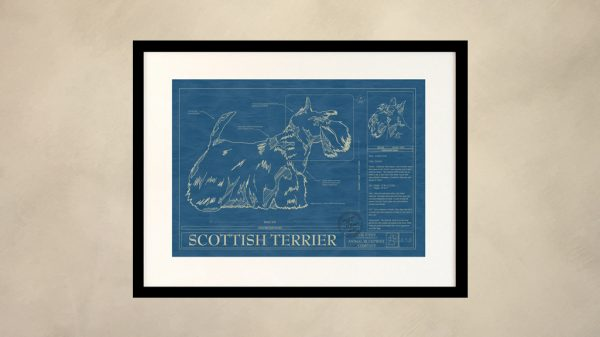 Scottish Terrier Dog Wall Blueprint