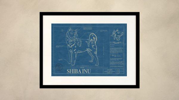 Shiba Inu Dog Wall Blueprint