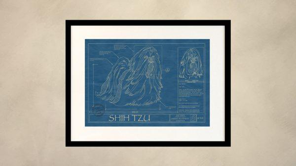 Shih Tzu Dog Wall Blueprint