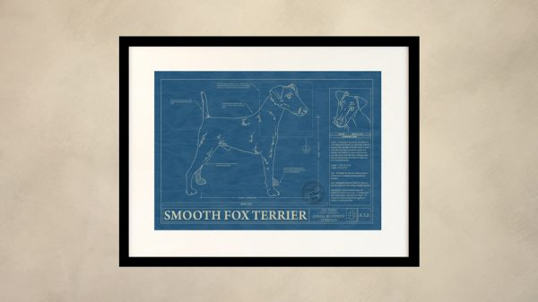 Smooth Fox Terrier Dog Wall Blueprint