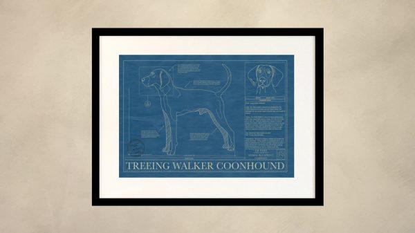 Treeing Walker Coonhound Dog Wall Blueprint