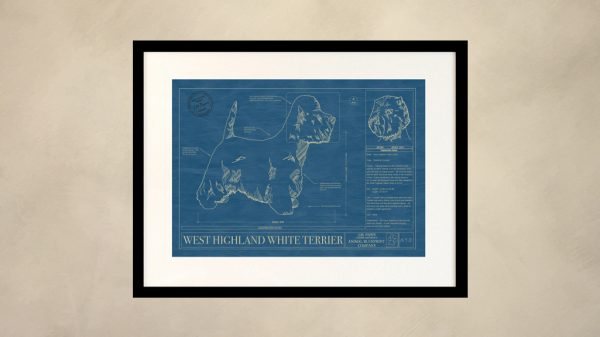 West Highland White Terrier Dog Wall Blueprint