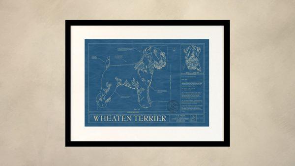 Wheaten Terrier Dog Wall Blueprint