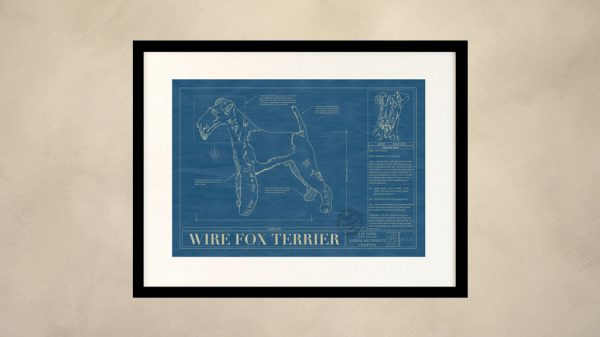 Wire Fox Terrier Dog Wall Blueprint